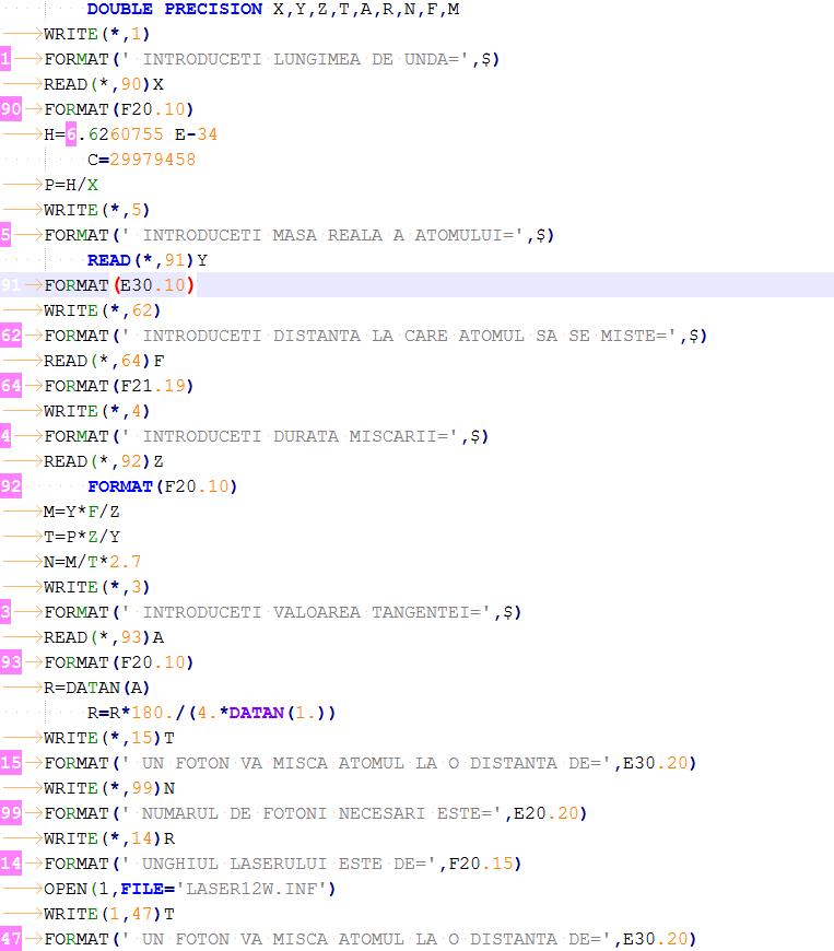 Snipet of program computing intensity of write laser beam